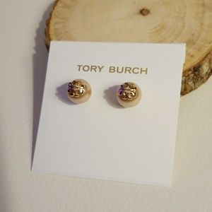 Tory Burch Rose pearl stud earrings